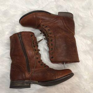 Steve madden cognac Leather combat boots size 8